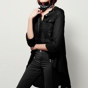 •Free People• black high low button up shirt
